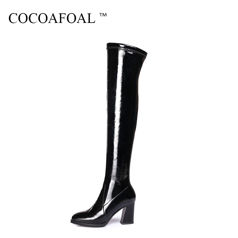 COCOAFOAL Women's Winter High Heeled Shoes Sexy Genuine Leather Over The Knee Boots Black Plus Size 40 41 Thigh High Boots 2018 cocoafoal women sexy black high heeled shoes genuine leather thigh high boots plus size 33 41 winter chelsea over the knee boots