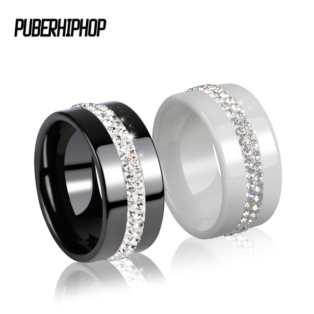 10MM Width Two Row Crystal Women Rings Jewelry Smooth Black White Ceramic Rings
