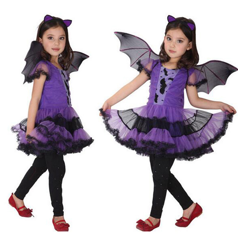 Masquerade Party Bat Girl Costume Children Cosplay Dance Dress Costumes For Kids Purple Halloween Clothing Lovely Girl Dresses halloween costume cosplay dance party show props cute siamese bats clothes for kids 228g