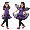 Masquerade Party Bat Girl Costume Children Cosplay Dance Dress Costumes For Kids Purple Halloween Clothing Lovely Girl Dresses