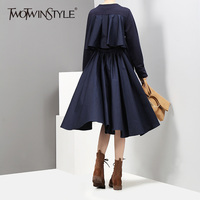 TWOTWINSTYLE Ruffles High Waist Dress Women Autumn Tuinc Pleated Knee Length Black Dresses Female Big Size
