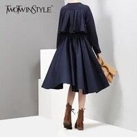 TWOTWINSTYLE Ruffles High Waist Dress Women Autumn Tuinc Pleated Knee Length Black Dresses Female Big Size