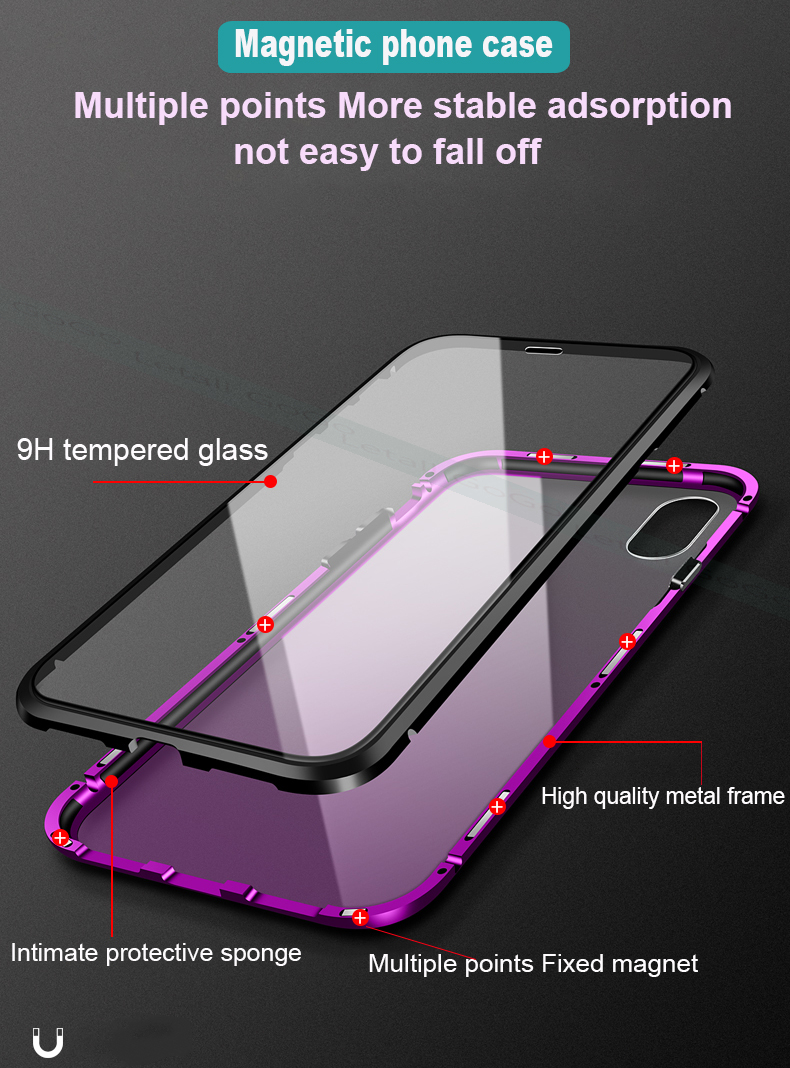 Magnetic Magnet clear  tempered glass Metal phone cover case 03