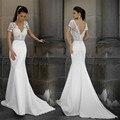 Халат де Mariage 2017 White Lace Mermaid Свадебные Платья Глубокий V-образным Вырезом Bacless Свадебное Платья На Заказ Платье De Novia