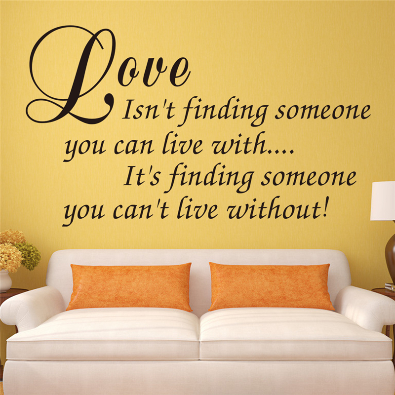 love is finding someone you can\'t live without letters vinyl wall ...