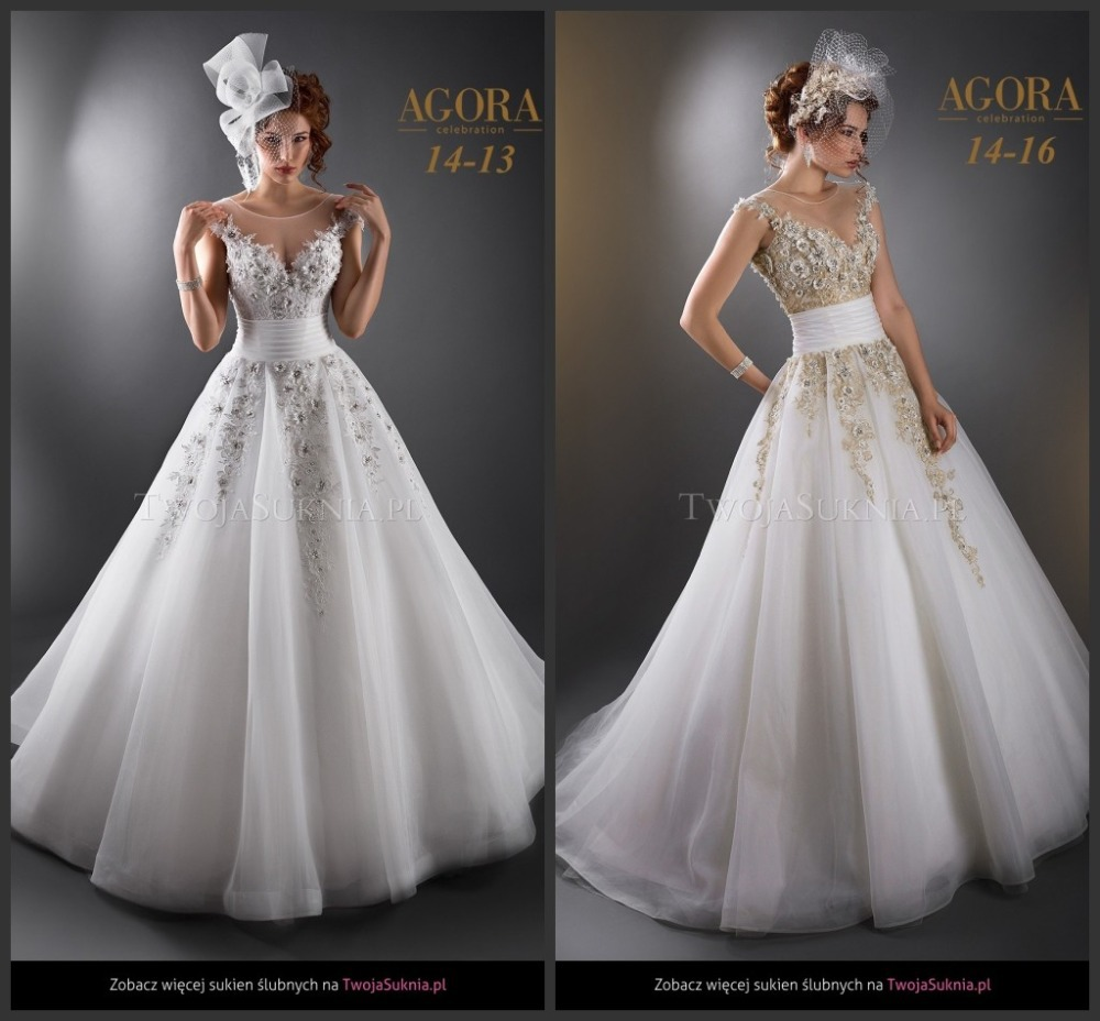 White Wedding Gown Gold: White Wedding Dresses AG1416 Gold Beaded Lace Appliqued