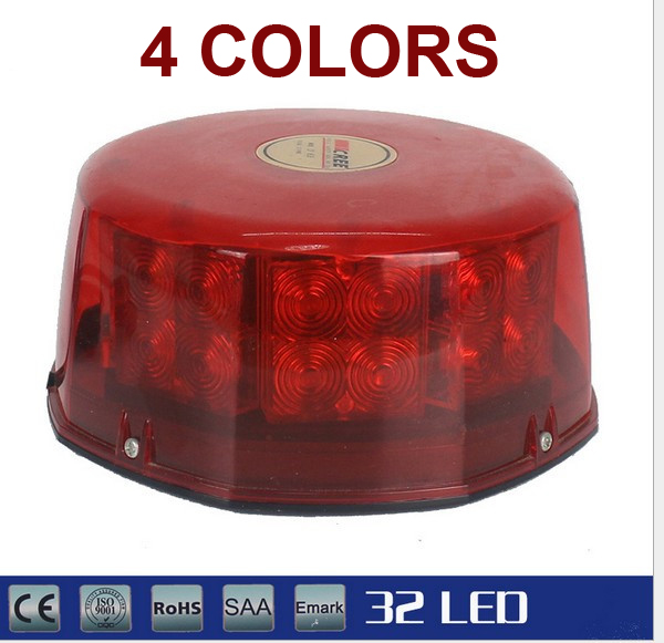 32 LED Amber Magnetic Beacon Light Emergency Warning Strobe Yellow red blue white Roof Round cyan soil bay 240 led super blue car harzard beacon emergency magnetic strobe flash light bar top roof warning lamp