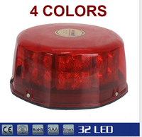 32 LED Amber Magnetic Beacon Light Emergency Warning Strobe Yellow Red Blue White Roof Round