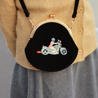 YIZI SToRe Vintage Velvet Embroidery Women Messenger Bags In Semi-circle Round Shape Original Designed(FUN KIK) 5