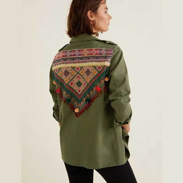 d5b612d1980 BOHO INSPIRED Army Green Cotton Ethnic Floral Embroidered Denim Jacket  buttons pom poms chic bohemian shirts jacket women 2018