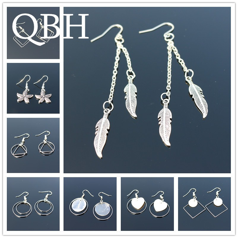 New Bohemia Vintage Geometry Triangle Square Circle Shell Heart Feather Leaf Wing Peace Drop Earrings for Women Tassel Jewelry