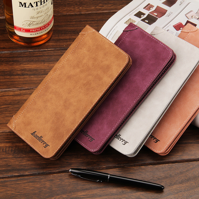 Brand Baellerry Designer Men Long Wallet Scrub Leather Coin Purses Male Money Phone Pocket Pochette Clutch Bag Card Holders Case fashion baellerry men pu leather portable card holder organizer long wallet money coin purse male pocket pochette clutch bag