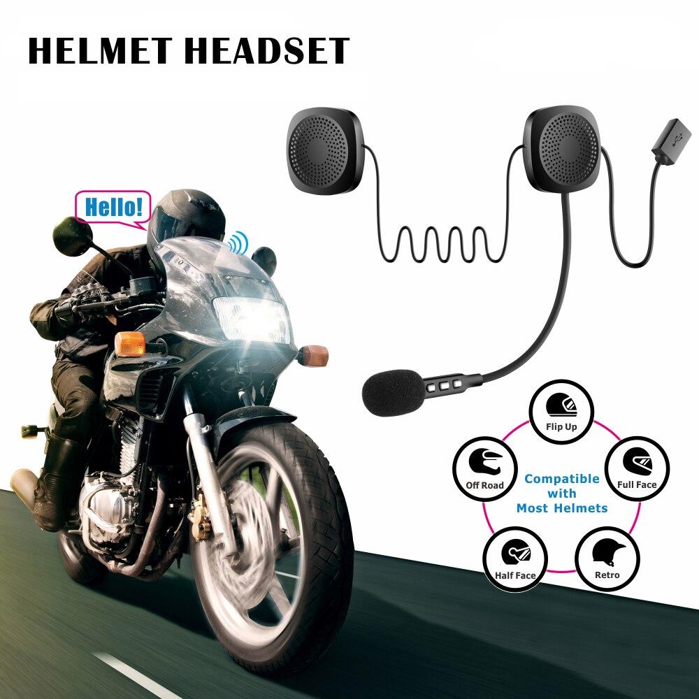 Motorcycle Helmet Wirless Bluetooth Headset Moto BT Earphone Helmet Speaker With Sponge Microphone Helmet Bluetooth Headset