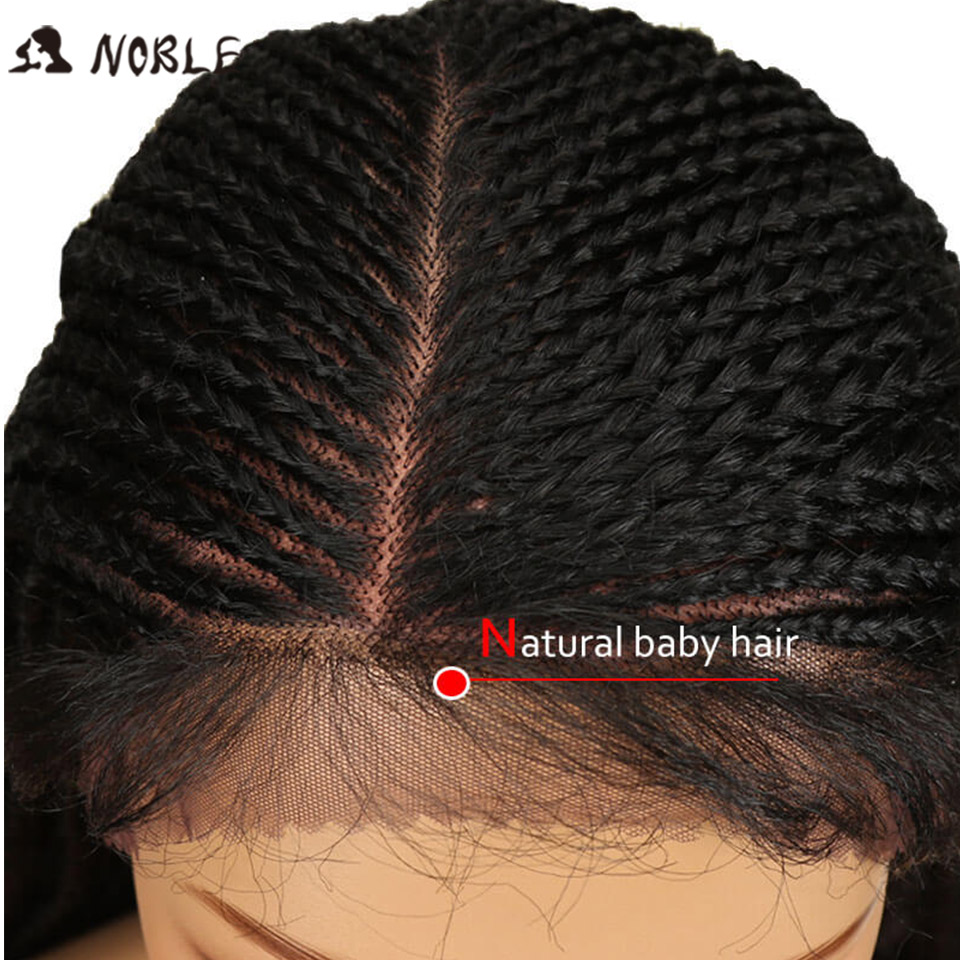 Image 5 - Noble Synthetic Braided Lace Front Wigs For Black Women 1b Heat Resistant 34 Inch Hair Braid Wigs Premium Braided Box Braids Wig-in Synthetic None-Lace  Wigs from Hair Extensions & Wigs