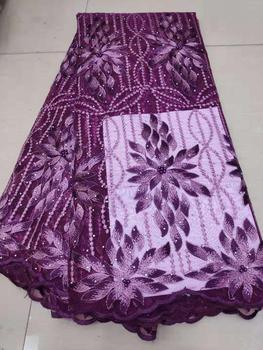 Royal Purple African Lace Fabric 2019 High Quality Nigerian Lace Fabrics With Beads Embroidery French Tulle Lace Fabric