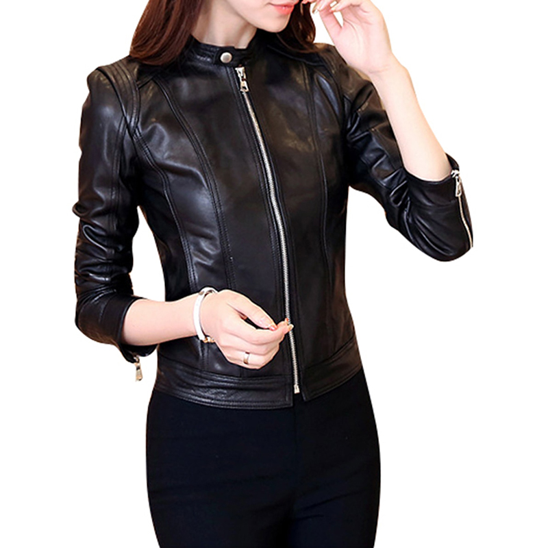 Women's Synthetic Leather Jacket Stand Collar Long Sleeve Slim Fit Jacket