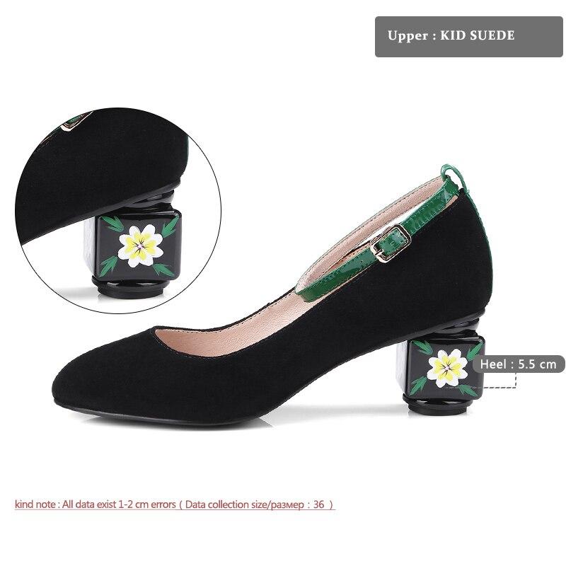 Bout Marque Pompes Noir Printemps 2018 Boucle Grande Dames Chaussures Style Rond Suede Taille Étrange De vert Haute Kid Talons Mode Wetkiss Femmes tSaYF