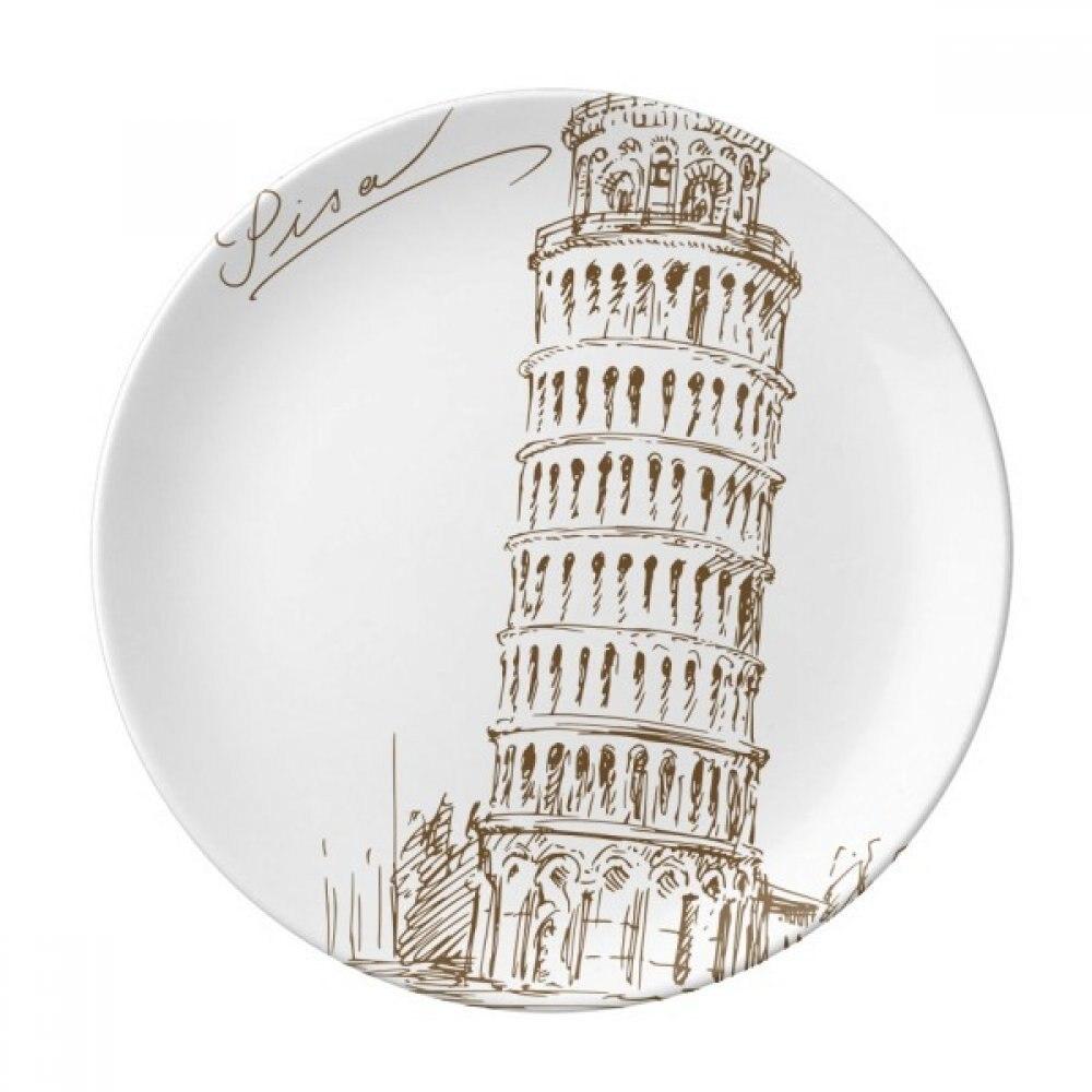 Tour penchée de Pise Italie Pise une assiette de dessert Décoratif Porcelaine 8 pouces Dîner Maison