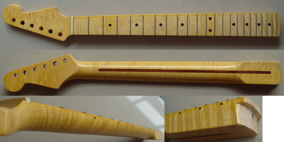 Free shipping  FD flamed maple guitar neck one piece