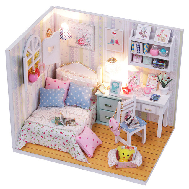 Miniature Wooden Dollhouse Girls Bedroom Furniture Kit DIY Dolls House With  LED Lights Puzzle Toy Model