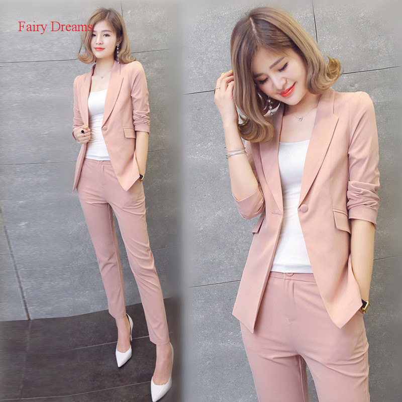 Fairy Dreams 2 Piece Set Women Black Pink Yellow Red White Pants Suits Cardigan Trousers 2017