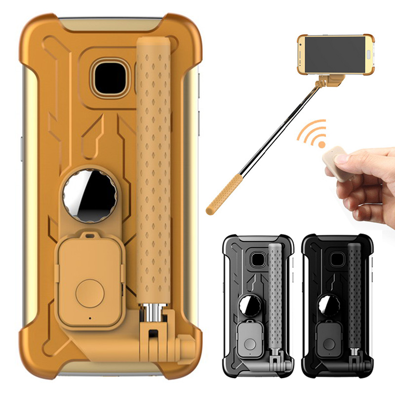 for samsung galaxy s7 case luxury mirror foldable stand rotating selfie stick case for samsung. Black Bedroom Furniture Sets. Home Design Ideas