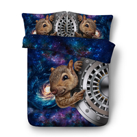 space squirrel bed linen single twin double full queen king cal king comforter soft duver cover kid boy cute home textile 3/4pcs