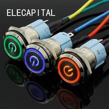 Металлический кнопочный переключатель светильник кой, 16 мм, плоская головка, самоцвет, 5 В, 12 В, 24 В, 220 В, водонепроницаемый светодиодный мета...