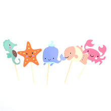 Fish Crab Starfish Sea Animal Cupcake Toppers Underwater World Picks Baby Shower Birthday Party Cake Decoration Supplies(China)