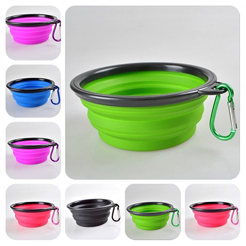 1pc Folding Silicone Dog Bowl Foldable Pet Travel Food Feeding Bowl Water Dish Portable Silicone Dog Bowls Pet Accessories