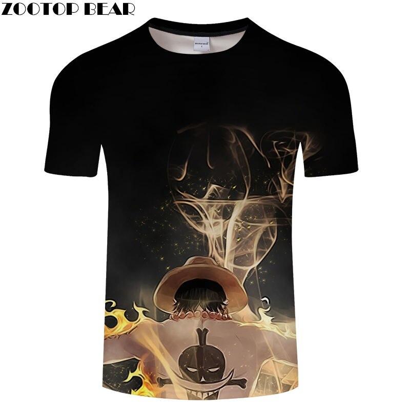 Black Men's Shirts Men Short Tees Casual Shirt 2019 Anime One Piece Cool Funny Boy Brand t-shirt Breathable 3D Print ZOOTOP BEAR