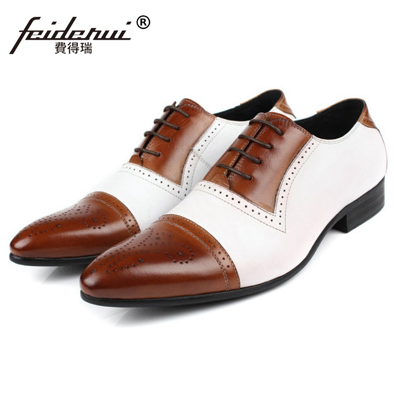 Luxury Brand Man Carved Brogue Shoes Genuine Leather Cap Top Business Oxfords Vintage Pointed Toe Men's Handmade Male Flats FG17 pjcmg new arrival oxfords men shoes genuine leather wingtip carved lace up vintage fashion wedding business male shoes men flats