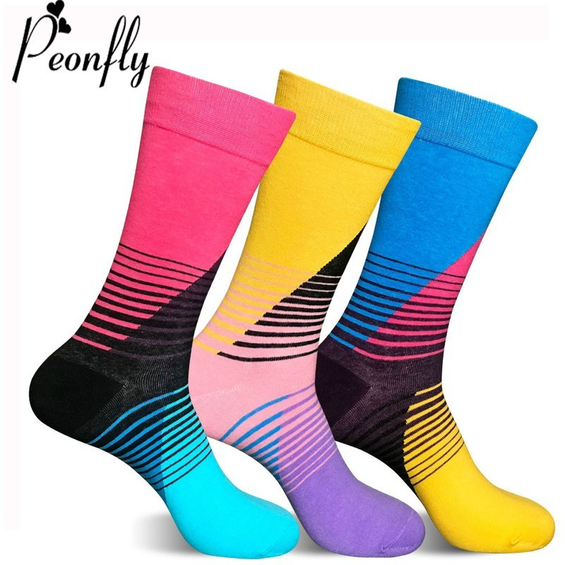 PEONFLY 2018 New Cool Skateboard Hip Hop Funny Sock Men comfortable breathable Casual Cotton Socks Happy Colorful Dress Men Sock