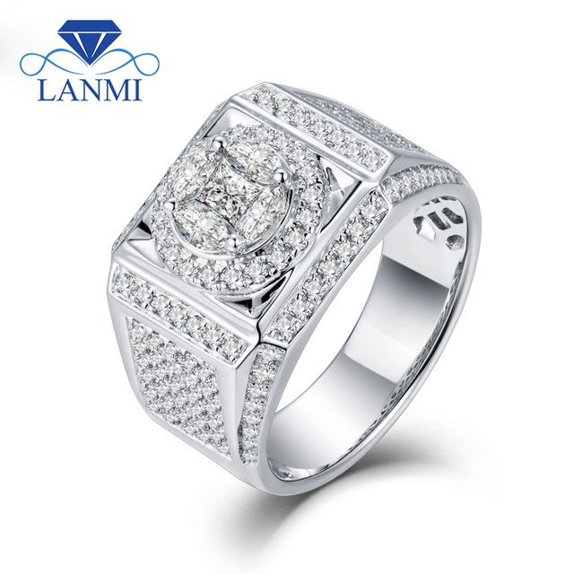 LANMI Solid 18Kt White Gold Diamond Mens Wedding Rings Real