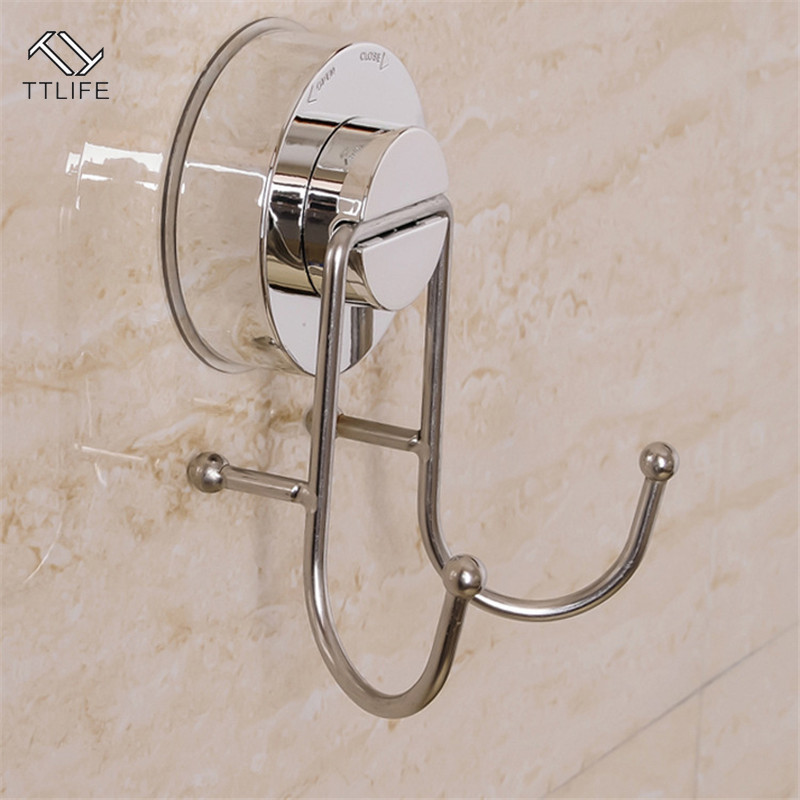 TTLIFE Ultra-strong Vacuum Stainless Steel Suction Cup Double Hook Free Punch Hook Metal Mounted Wall Hook Rack Bathroom Kitchen