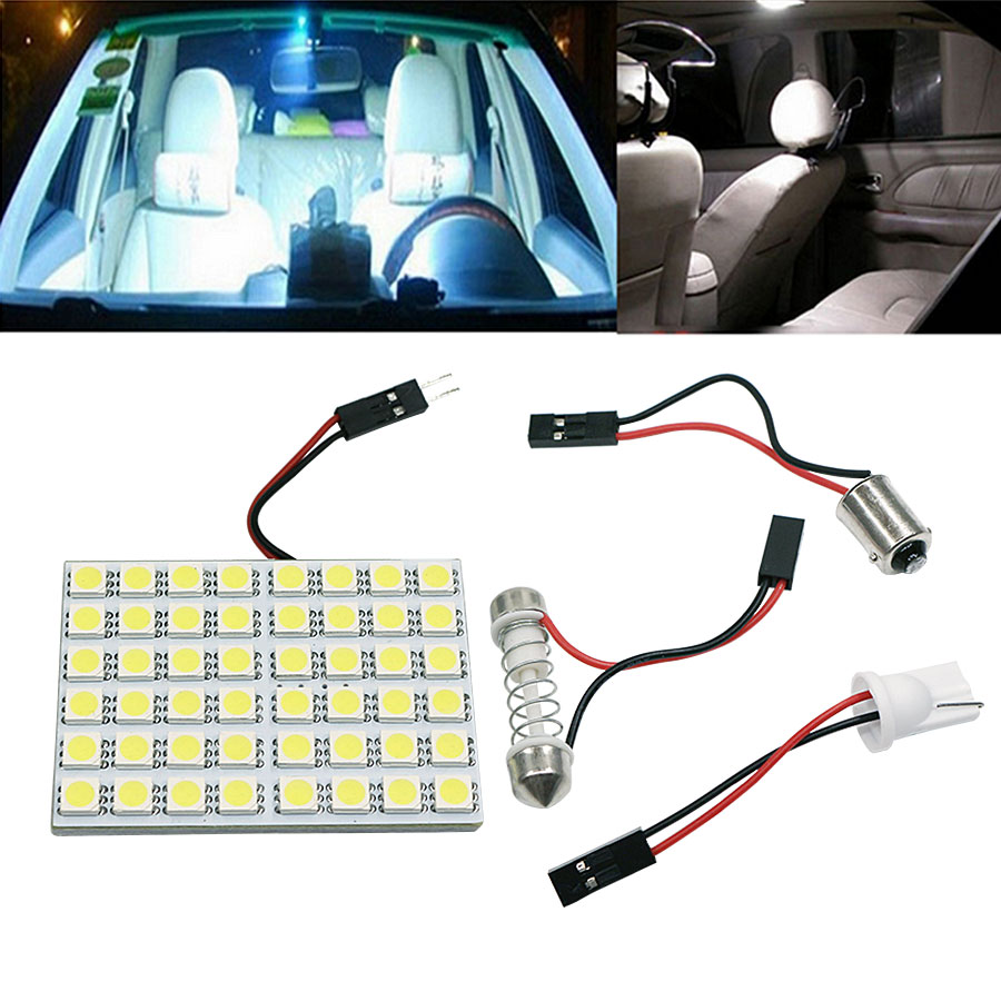 1Set White Festoon BA9S T10 W5W LED Bulbs 5050 48SMD Car LED Panel Lamps Auto Interior Reading Lamp Dome Ceiling Light DC12v