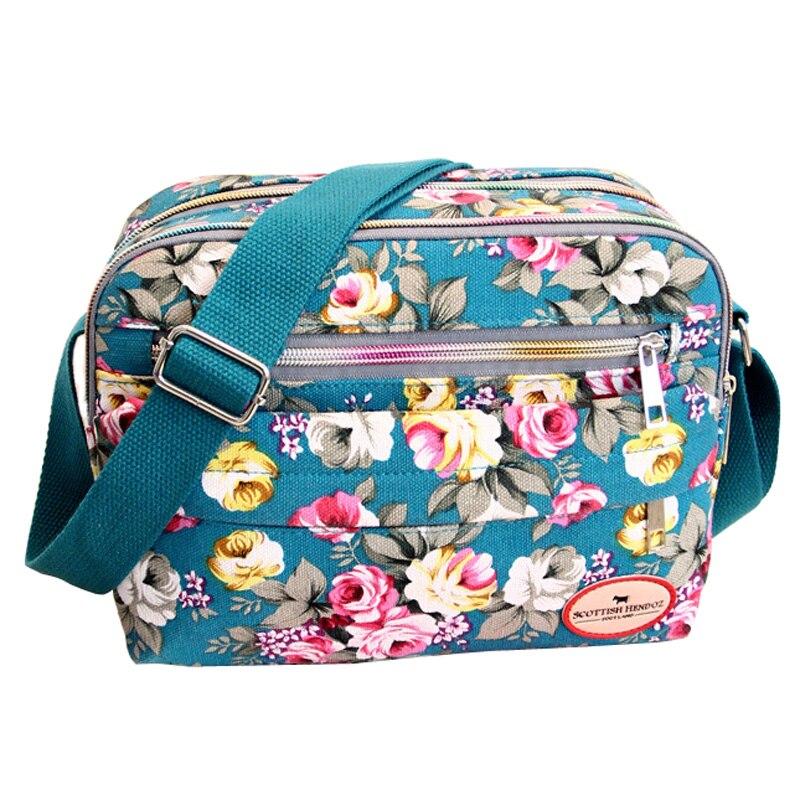 Canvas-Bags Messenger-Bags Floral-Printing Korean-Style Small Women Fashion Ladies Mummy-Bag
