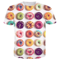 2017 summer style new fashion Hipster 3D t shirt Colorful Donuts/Macaron/Candy Print tshirts Delicious Dessert t shirt Tops