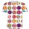 2017 verão novo estilo moda Hipster t 3D camisa Rosquinhas Coloridas/Macaron/Doces Impressão tshirts Deliciosa Sobremesa t camisa Topos