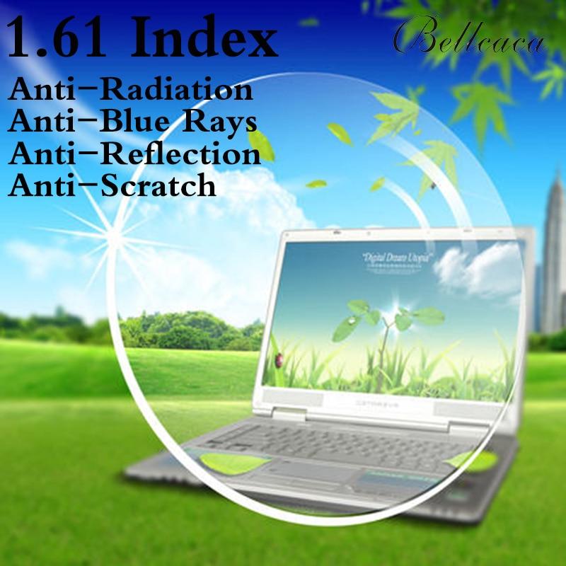 1.61 Index Aspheric Optical Prescription Lens CR-39 Myopia Lens Glasses Lens Anti-Radiation Reflection,Blue Rays 2 PCS BC002