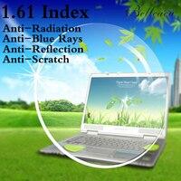 1.61 Index Aspheric Optical Prescription Lens CR 39 Myopia Lens Glasses Lens Anti Radiation Reflection,Blue Rays 2 PCS BC002