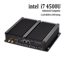 Безвентиляторный barebone mini pc core i7 4500u windows 10 rugged ITX Корпус Встроен Промышленный Компьютер 2 LAN HDMI 6 COM неттоп