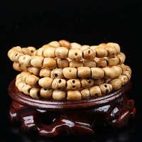 BRO863 108 Beads Tibetan Yellow Yak Bone Carved Skull Prayer Malas Tibetan Rosary Necklace 6mm 8mm