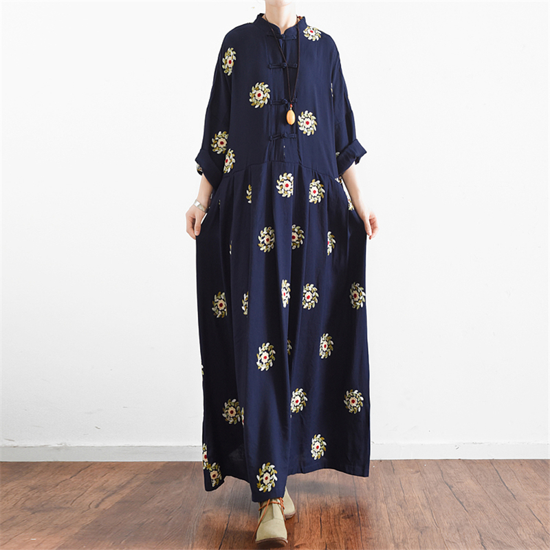 Johnature Women Embroidery Floral Maxi Dress 2019 Spring New Casual Vintage Button Stand Cotton Sweet Fashion