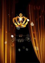 VIP preto Cortinas Brilhantes de Ouro Coroa partido Palco foto cenário Vinil pano Computer print Fundo de aniversário