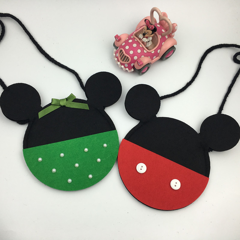 Children Mickey Bow Coin Purse Non-Woven KIds Green and Red Small Bags Fashion Christmas Gift for Baby Girls Minin Bags for kids