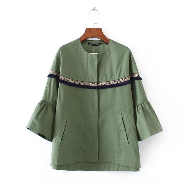 YD60-8300 moda laminado manga de viento chaqueta con flecos 0313