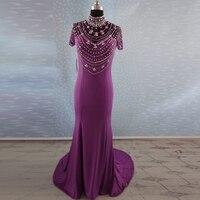 Vestido De Novia Celebrity Short Sleeve Crystal Long Prom Dresses Custom Made Elegant Dress To Party