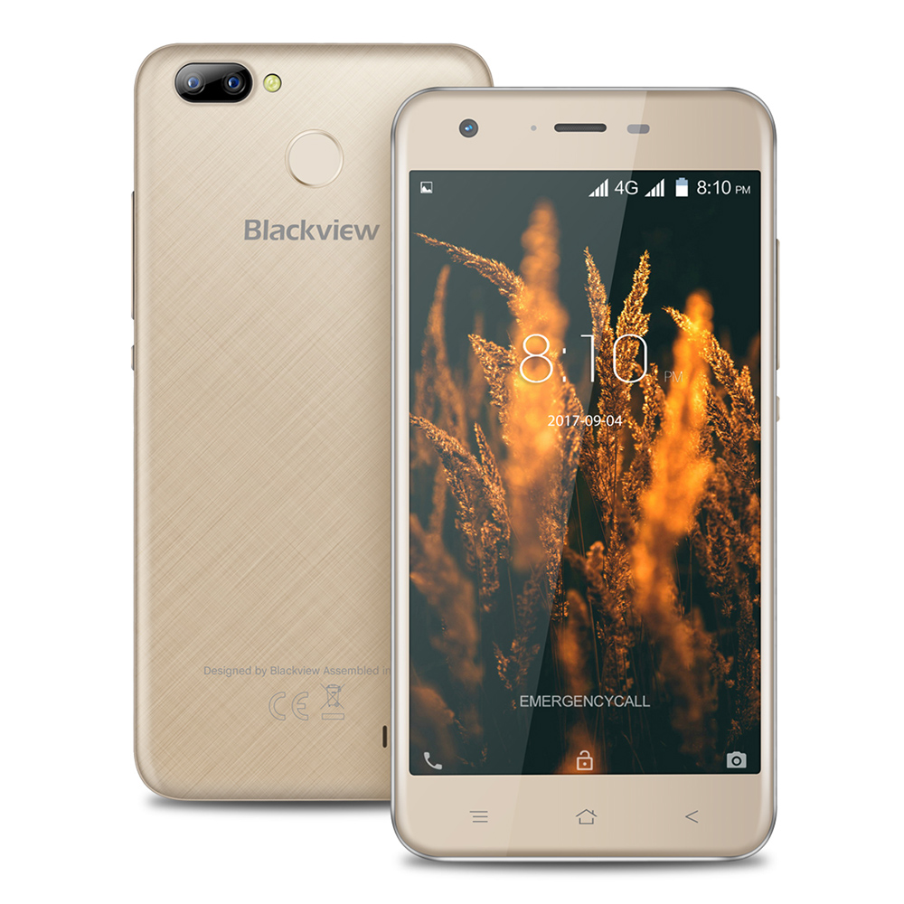 Blackview A7 Pro 4G Smartphone 5.0 Pollice Android 7.0 MTK6737 Quad Core da 1.3 GHz 2 GB di RAM 16 GB ROM 8.0MP Doppia Fotocamera Posteriore di Impronte Digitali