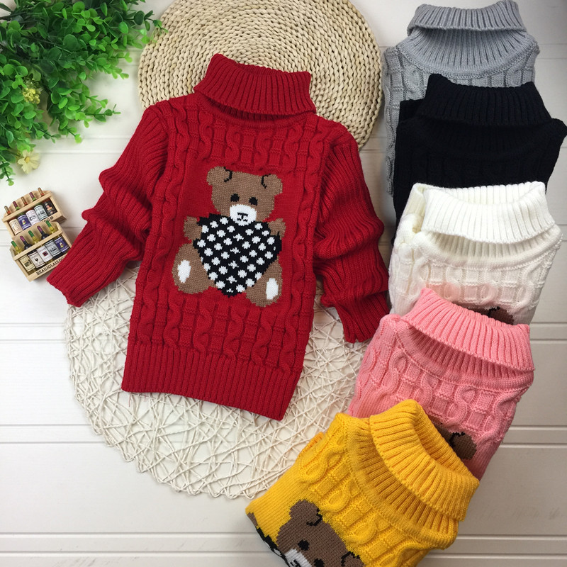 Big Size 2T-7T pullover winter autumn infant baby sweater boy girl child knitted sweater turtleneck sweater children outerwear